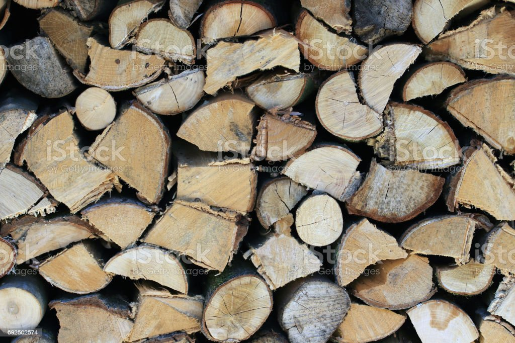 Winter stock stacked timber stock photo