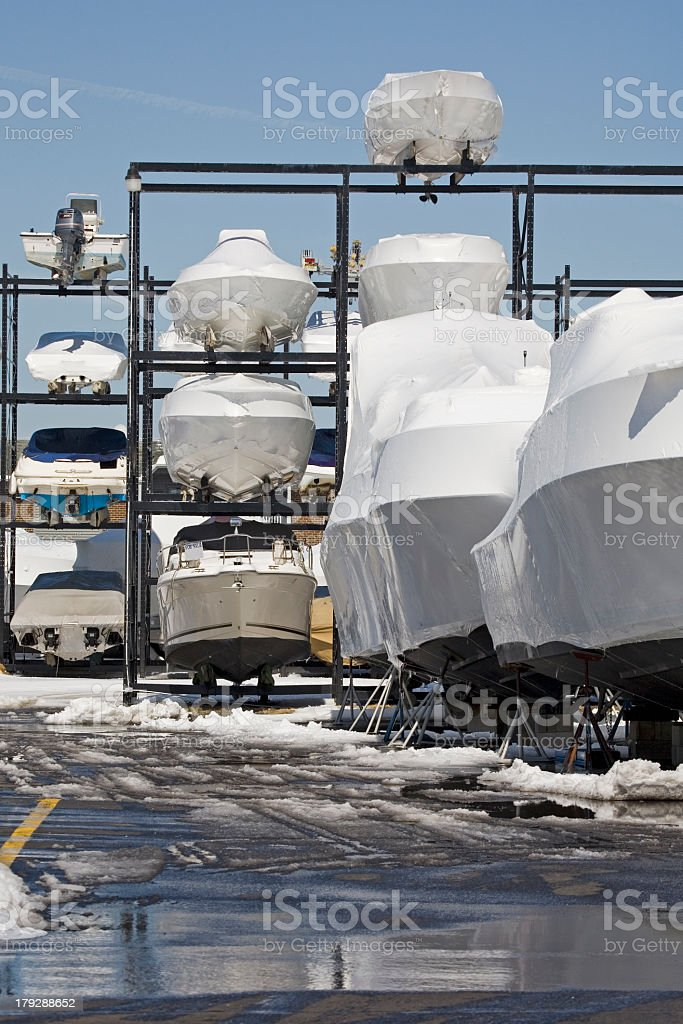A winter storage area for boats and ships royalty-free stock photo