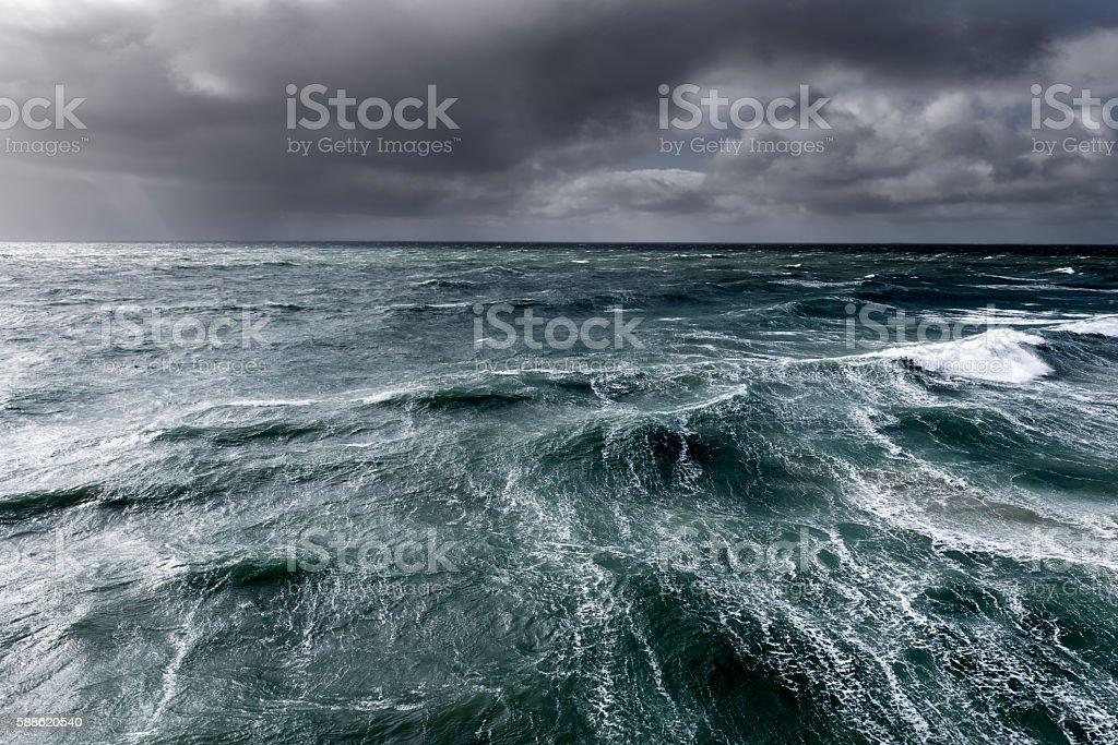 Winter storm hitting coastal waters stock photo