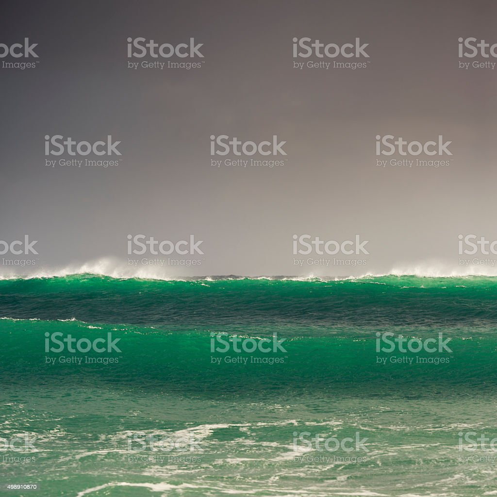 winter storm surf waves in Cornwall stock photo