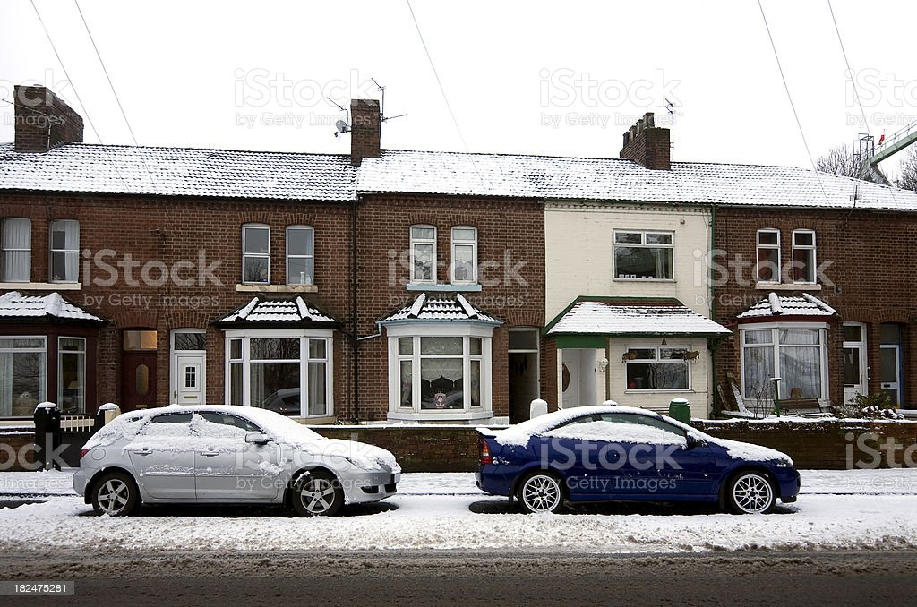 Winter street scene stock photo