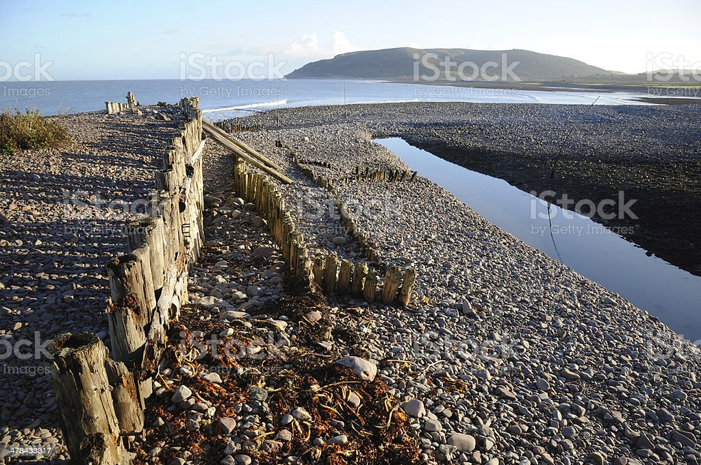 Winter sun at Porlock Weir stock photo