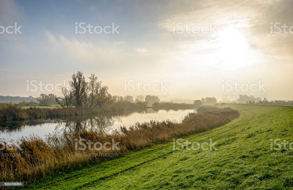 Winter sun at the river stock photo