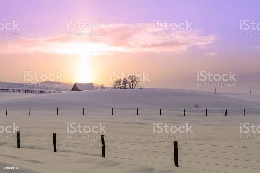 Winter Sun Dog Sunrise stock photo