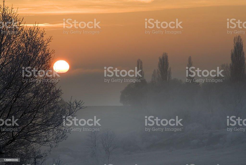 winter sundown stock photo