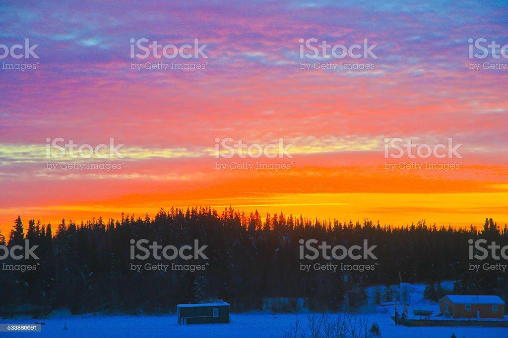 Winter Sunrise at 10am, Yellowknife, NT stock photo