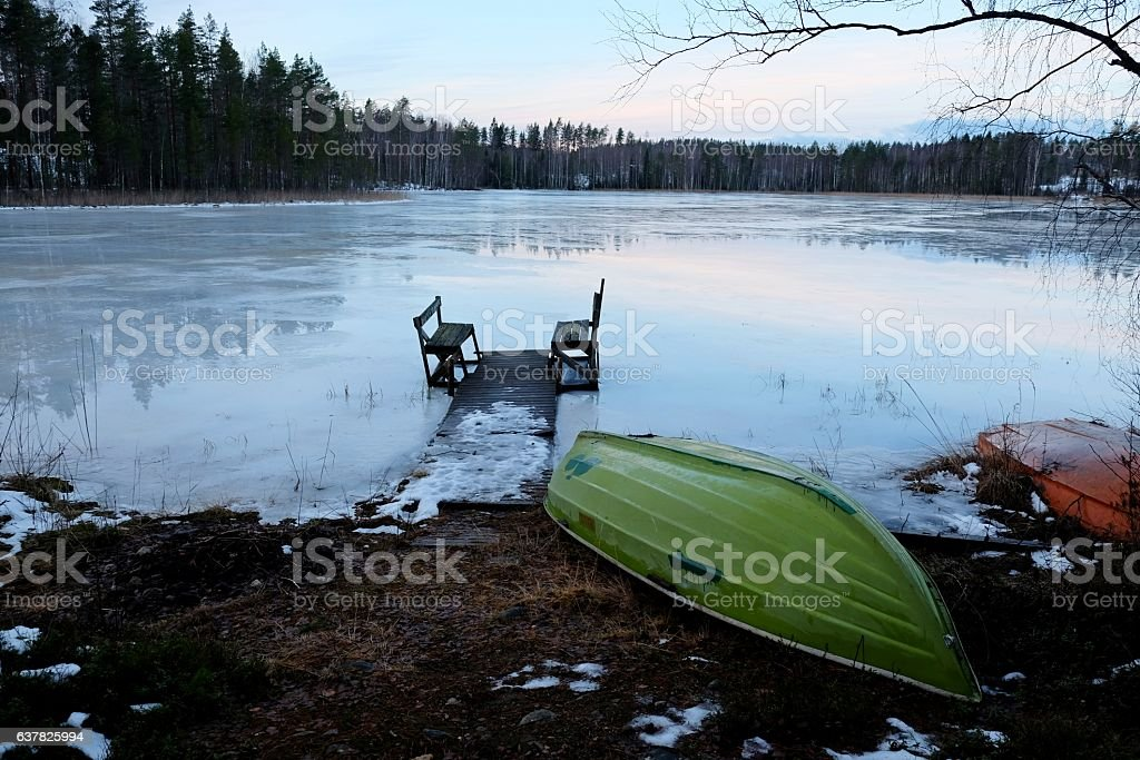 Winter Sunrise By The Lake. stock photo