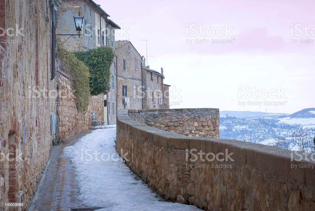 Winter Sunrise in Pienza royalty-free stock photo