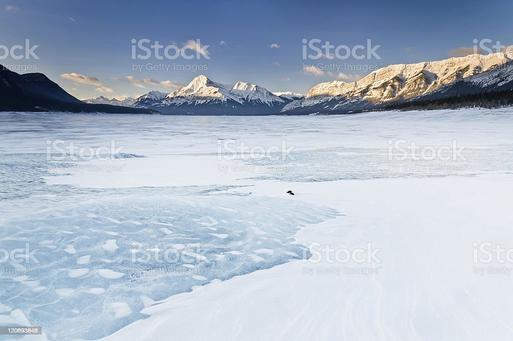 Winter Sunrise in the Canadian Rockies stock photo