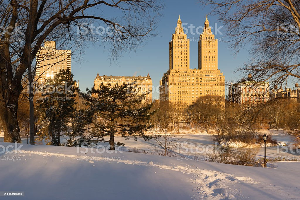 Winter sunrise on Central Park and Upper West Side, NYC stock photo
