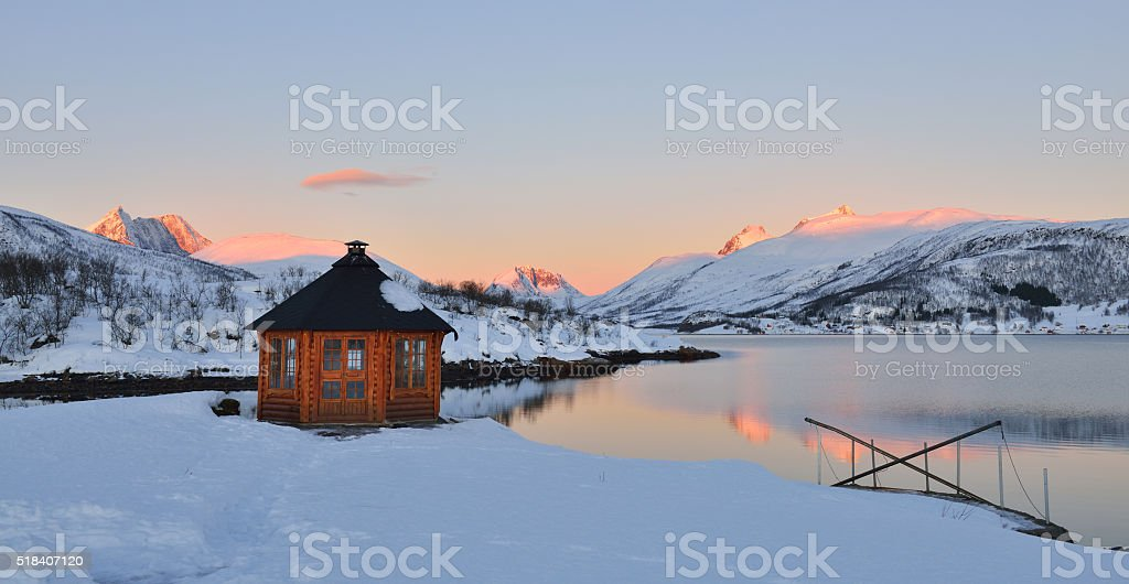 Winter Sunrise on Stonnesbotnen, Senja stock photo