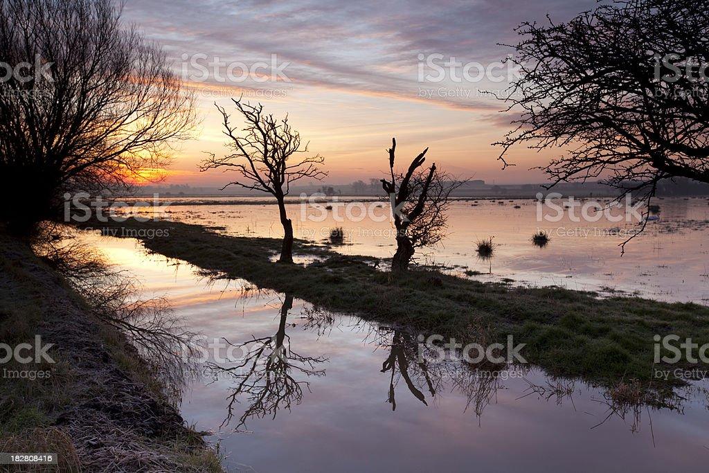 Winter sunrise on the Somerset Levels stock photo