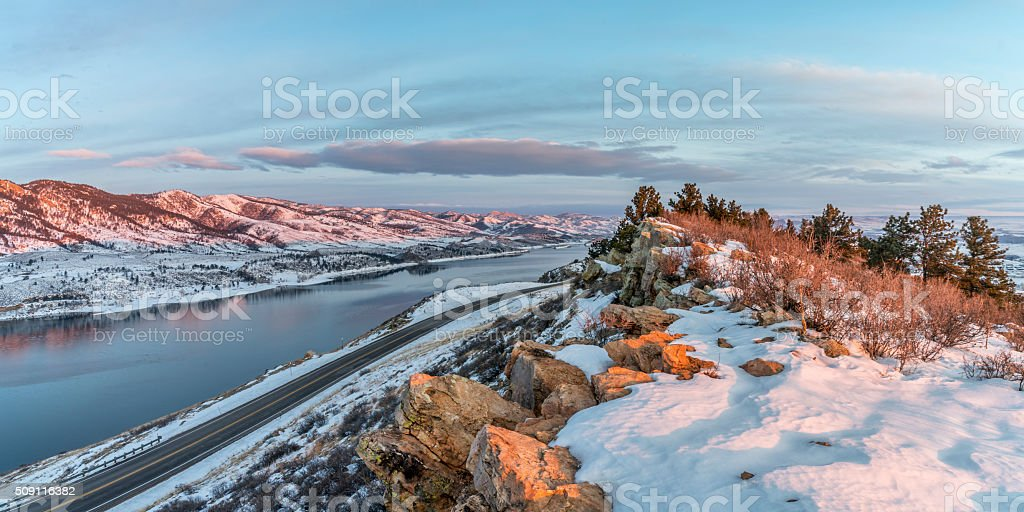 winter sunrise over Horsetooth Reservoir stock photo