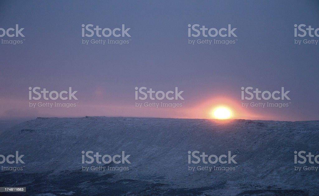 Winter sunrise over Kinder Scout, Peak District UK royalty-free stock photo