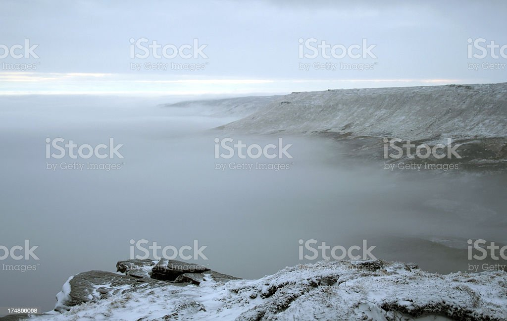 Winter sunrise over Kinder Scout, Peak District UK stock photo