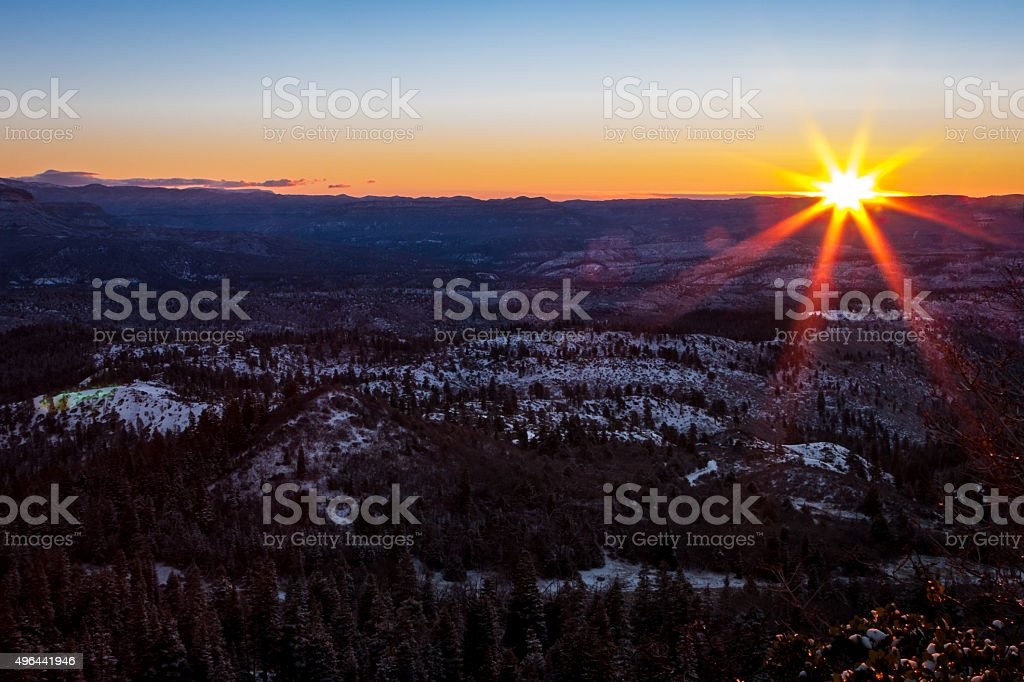 Winter Sunrise over Lava Point and High Plateaus stock photo