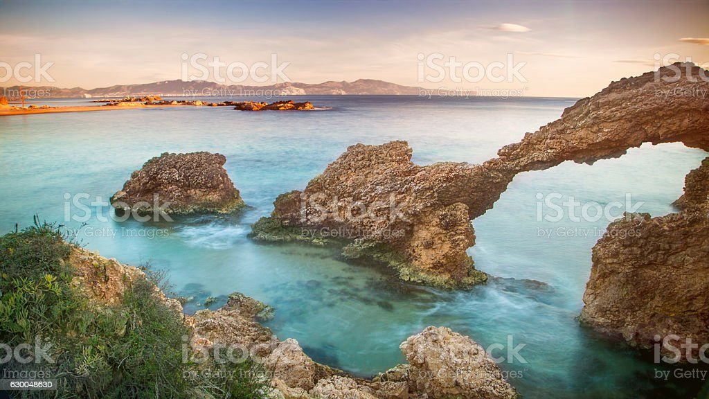 Winter sunrise over Mediterranean sea stock photo