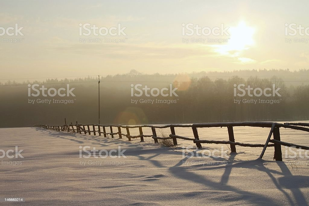 Winter sunrise over the field royalty-free stock photo