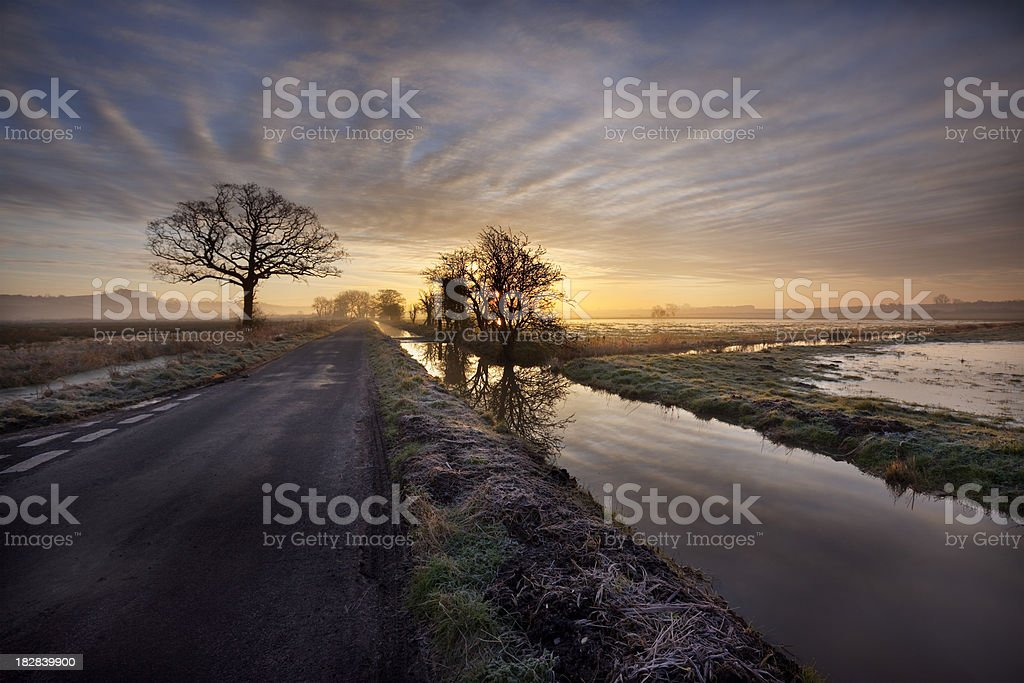 Winter sunrise over the Somerset Levels. stock photo