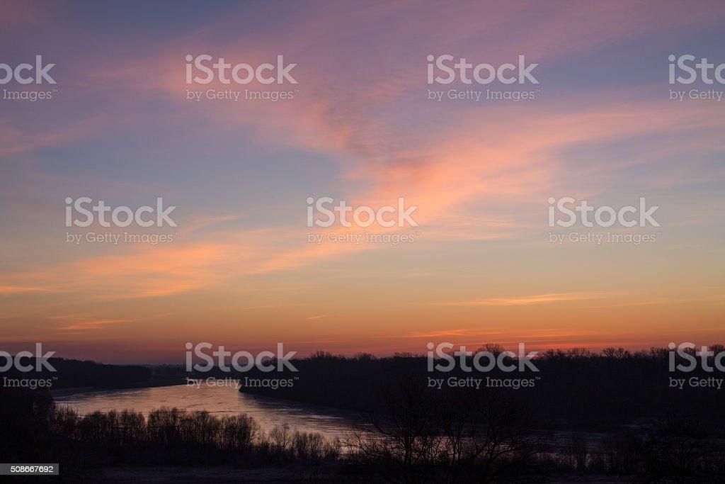 Winter sunrise, river views. stock photo