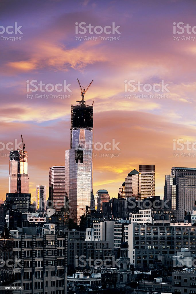 Winter Sunset Freedom Tower Lower Manhattan New-York royalty-free stock photo