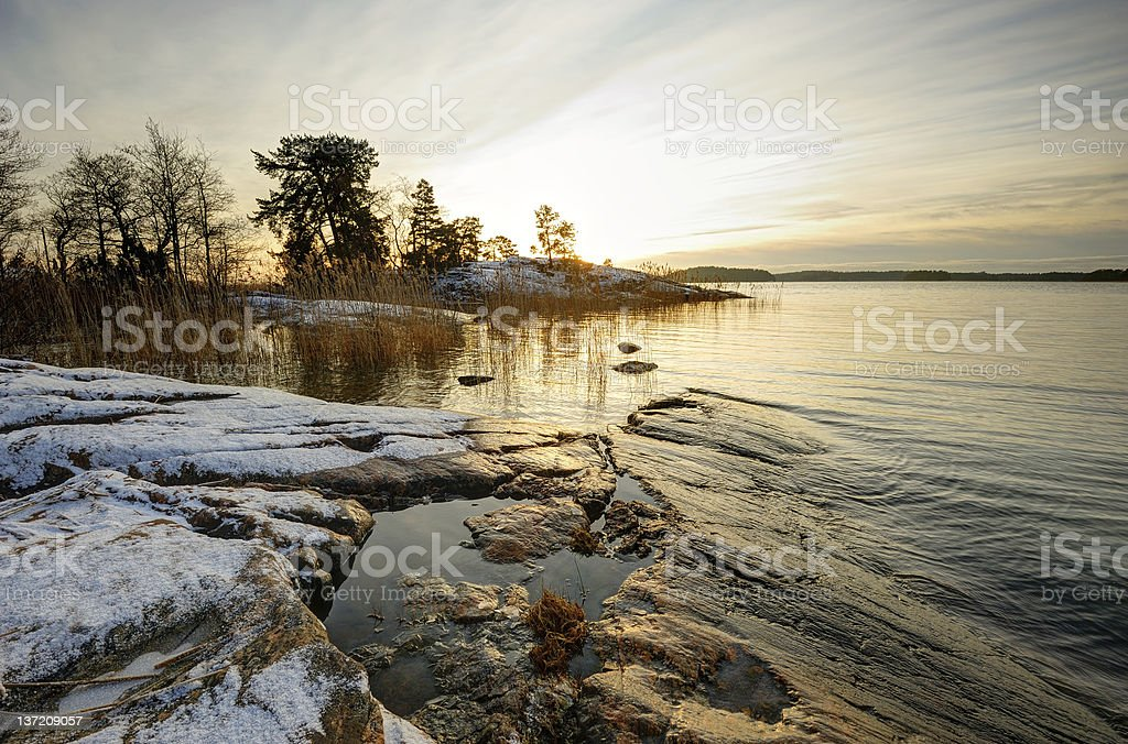 Winter sunset in Finland royalty-free stock photo