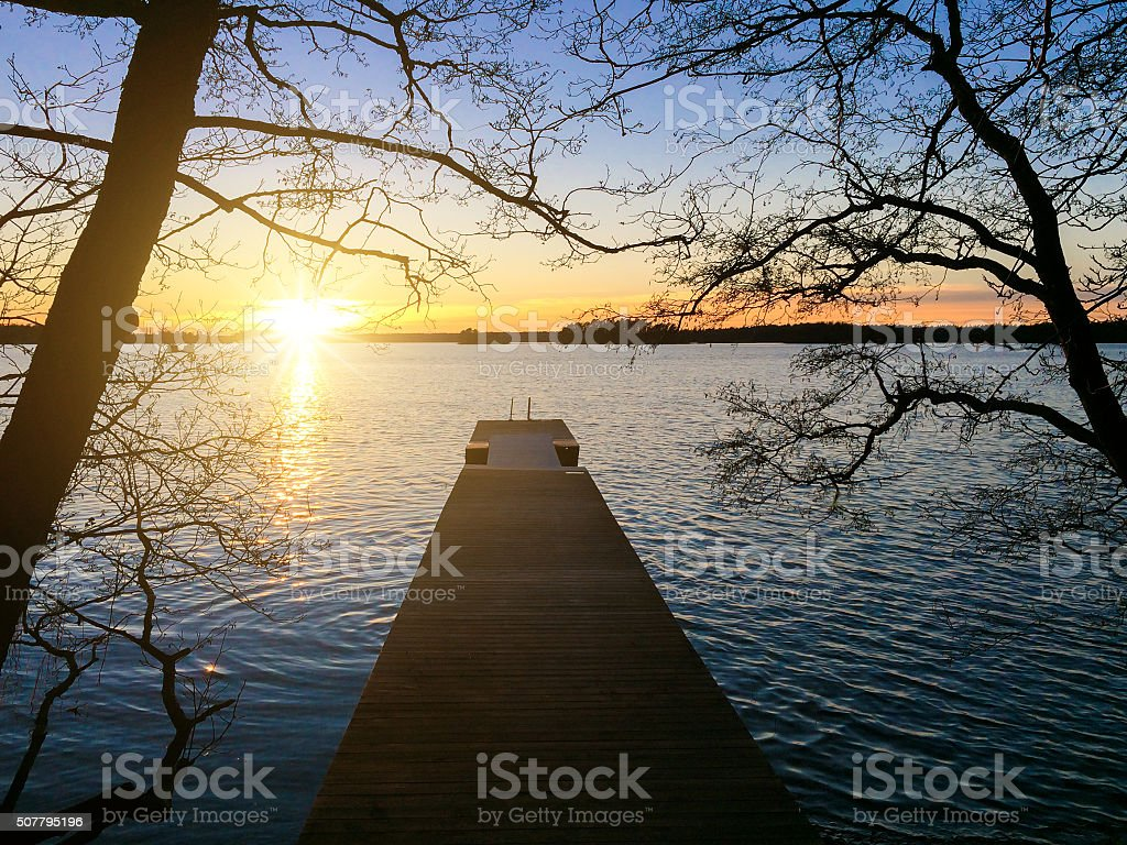 Winter sunset in Finland stock photo