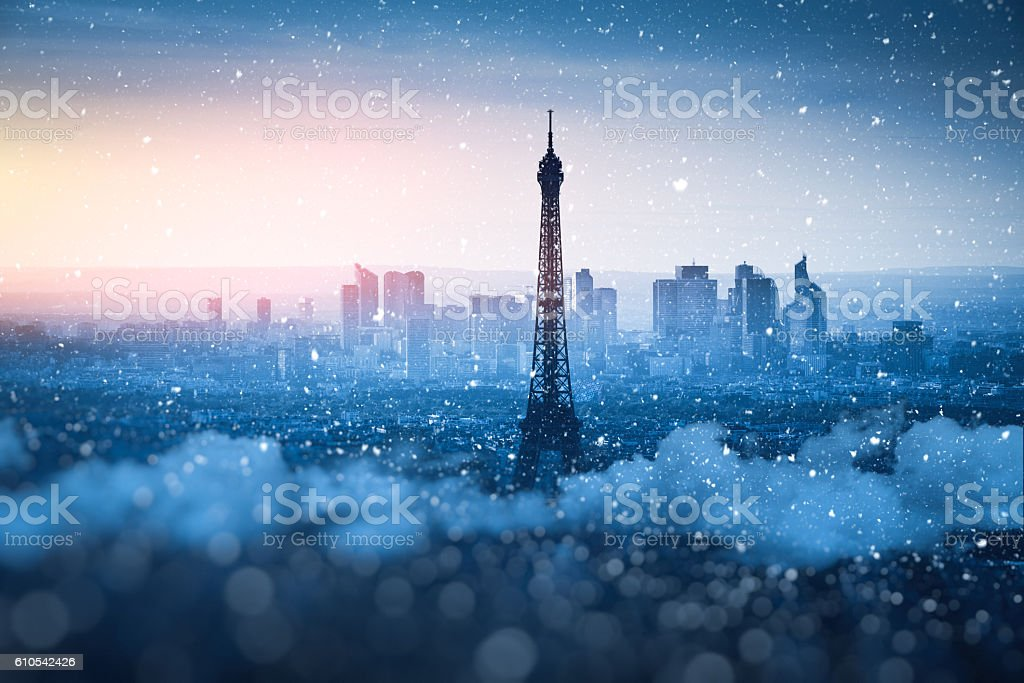 Winter Sunset In Paris stock photo
