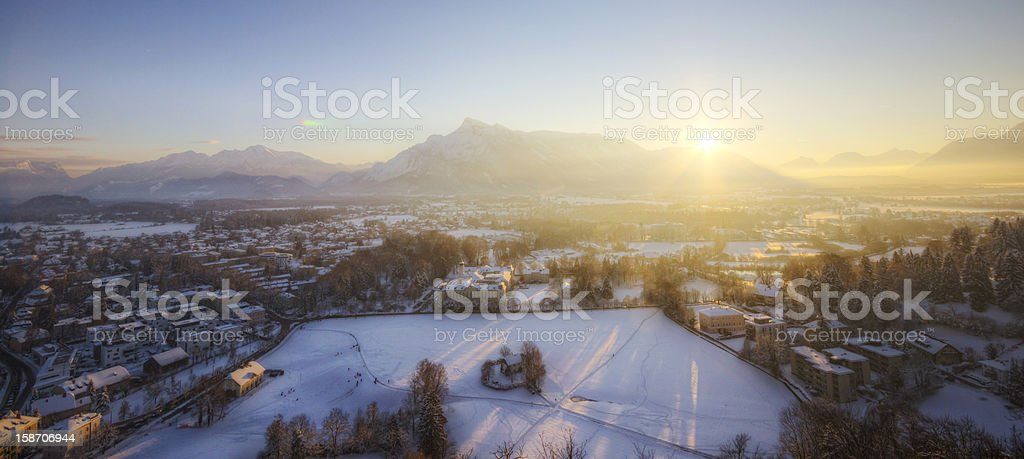 Winter Sunset in the Alps stock photo