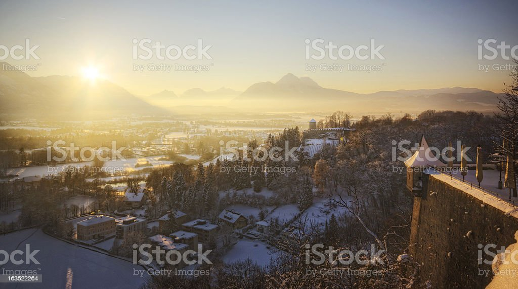Winter Sunset in the Alps royalty-free stock photo