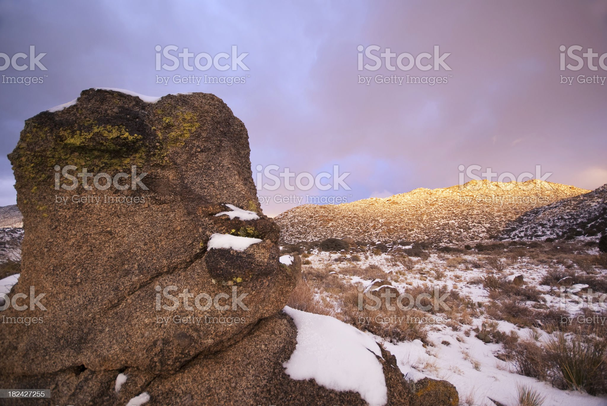 winter sunset landscape boulder mountain royalty-free stock photo