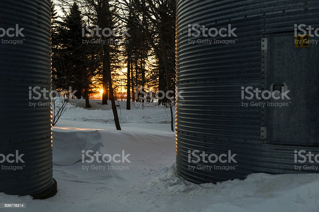 Winter Sunset on Farm stock photo