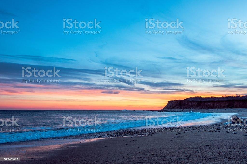 Winter Sunset on Ocean Beach stock photo