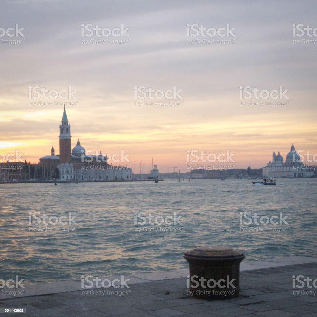 Winter sunset on San Giorgio Maggiore's church, Venice stock photo