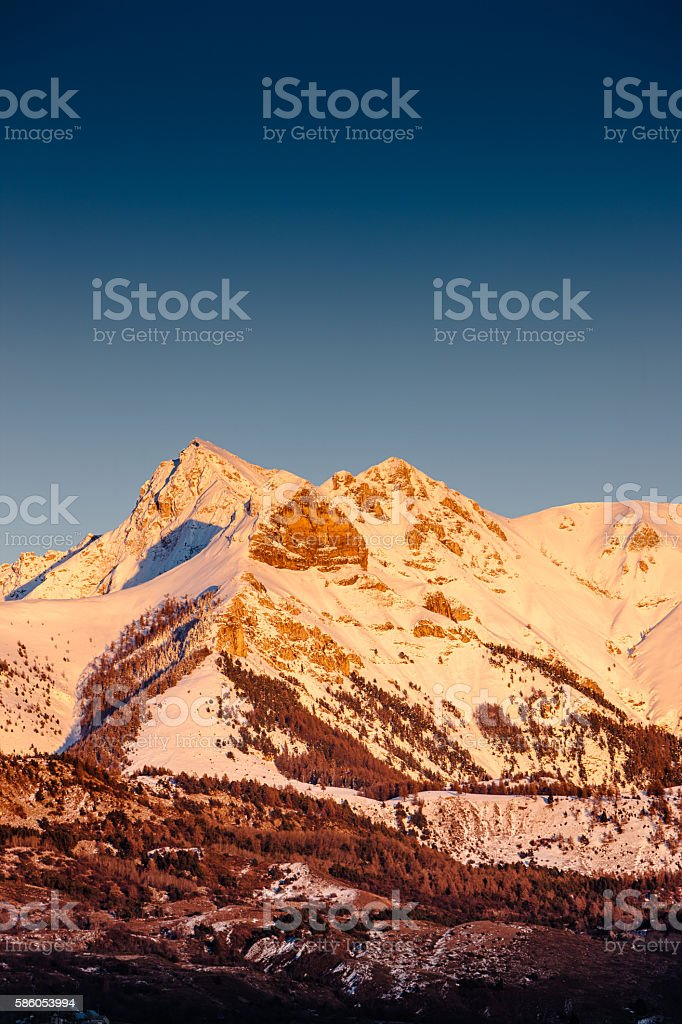 Winter sunset on the Arche, Ecrins National Park, Alps, France stock photo