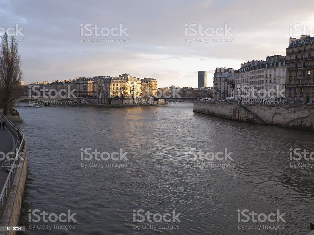 Winter Sunset on the Seine river. royalty-free stock photo