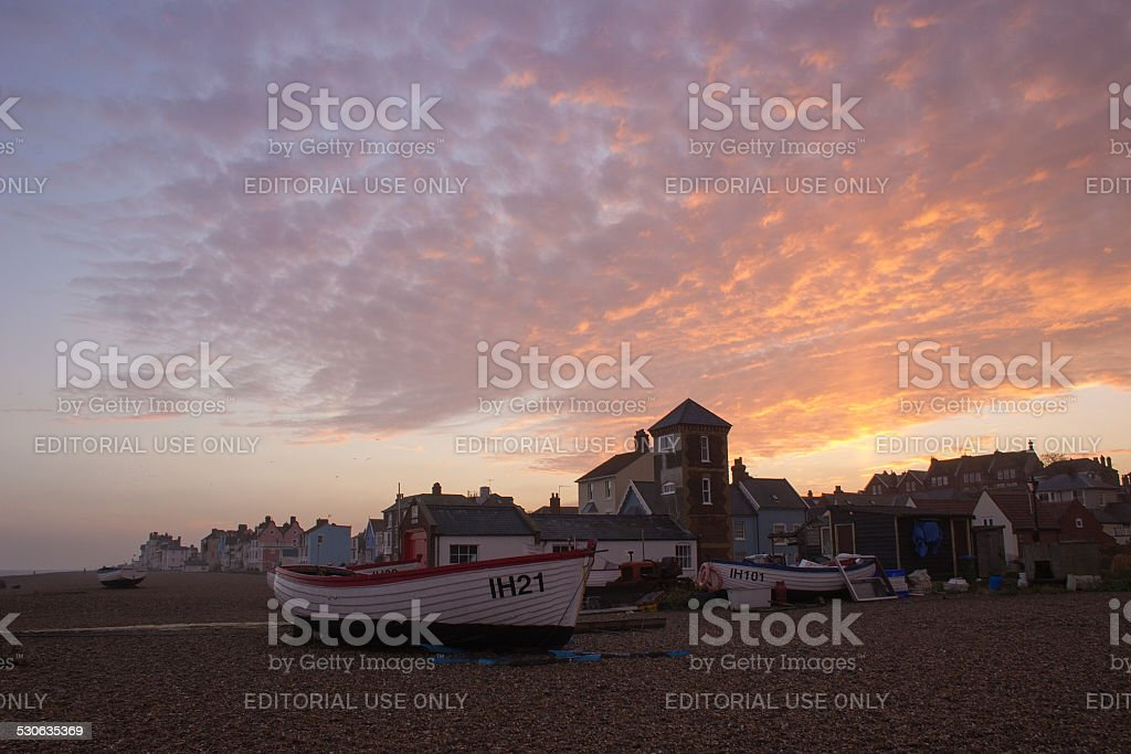 Winter sunset over Aldeburgh, Suffolk stock photo