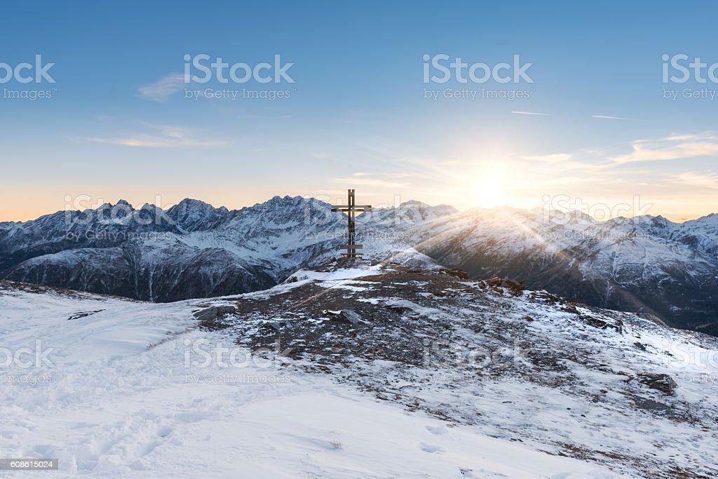 Winter sunset over Alps Mountains ridge stock photo