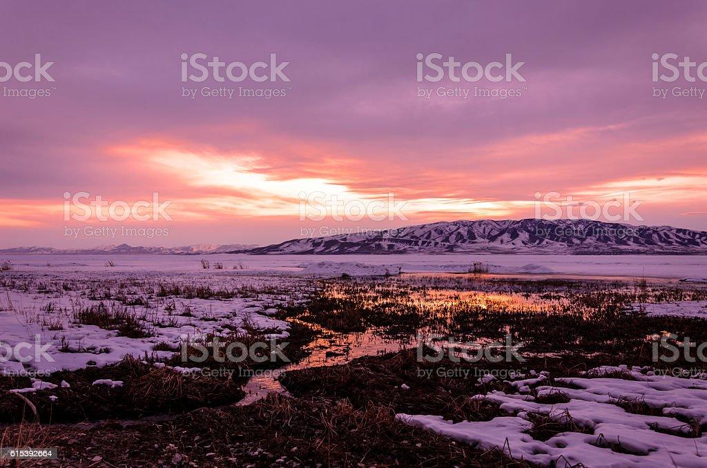 Winter Sunset Over Lake Utah photo libre de droits