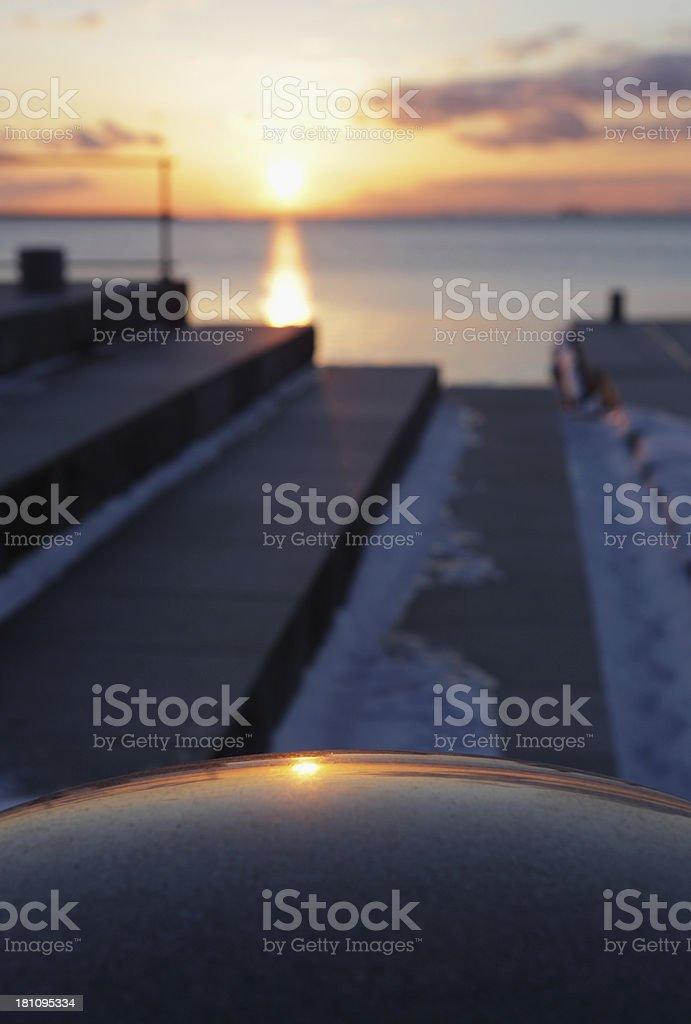 Winter sunset over Oresund stock photo