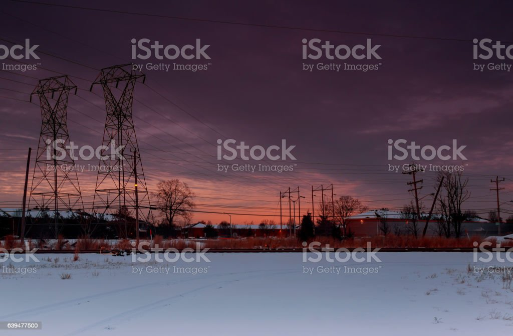 Winter sunset over the stock photo