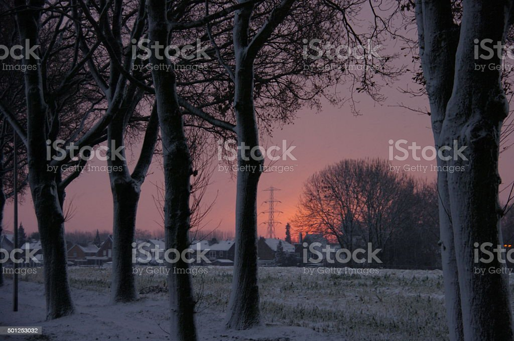 Winter sunset scene stock photo