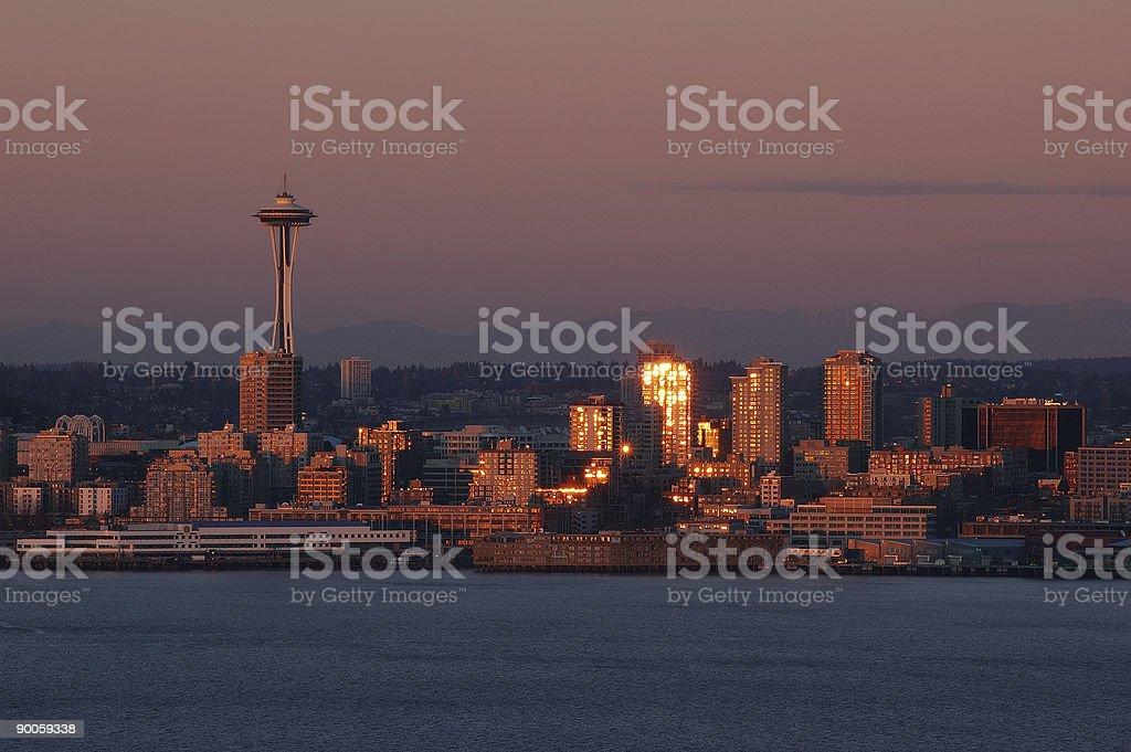 Winter Sunset - Seattle royalty-free stock photo