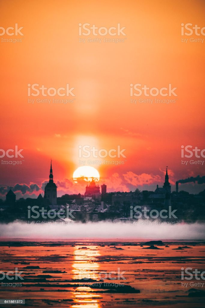 Winter sunset. Tallinn, Estonia. stock photo