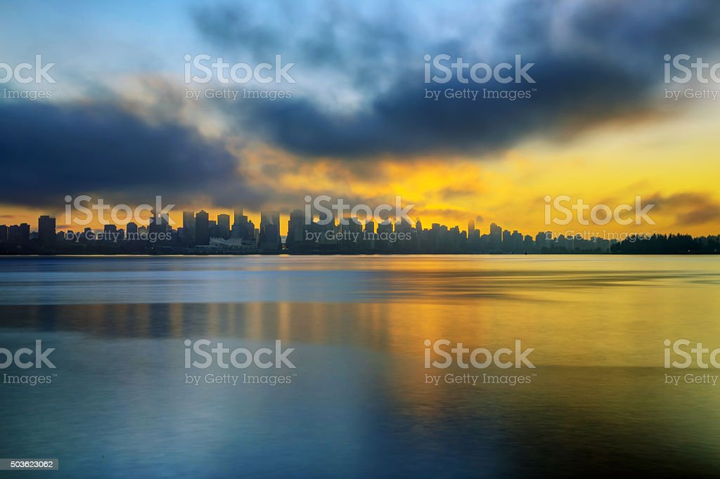 Winter sunset view of Downtown Vancouver stock photo