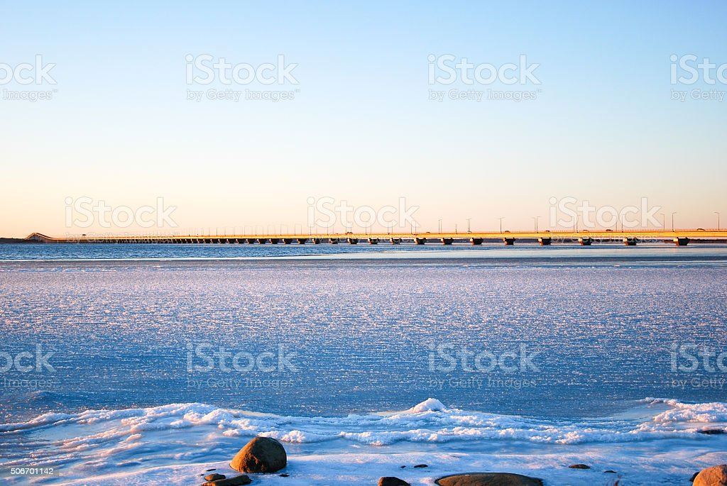 Winter sunshine at the Oland bridge stock photo