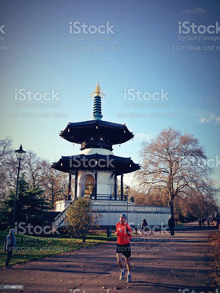 Winter sunshine in Battersea Park stock photo