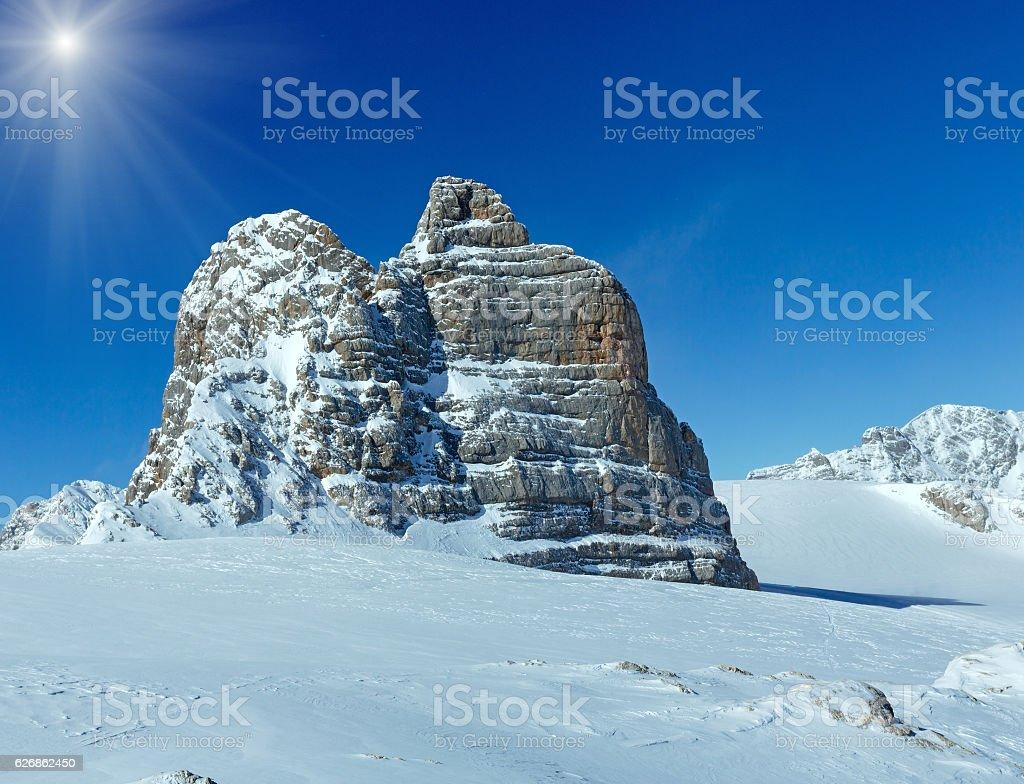 Winter sunshiny Dachstein mountain massif stock photo