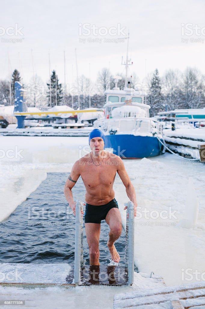 Winter Swimmer stock photo