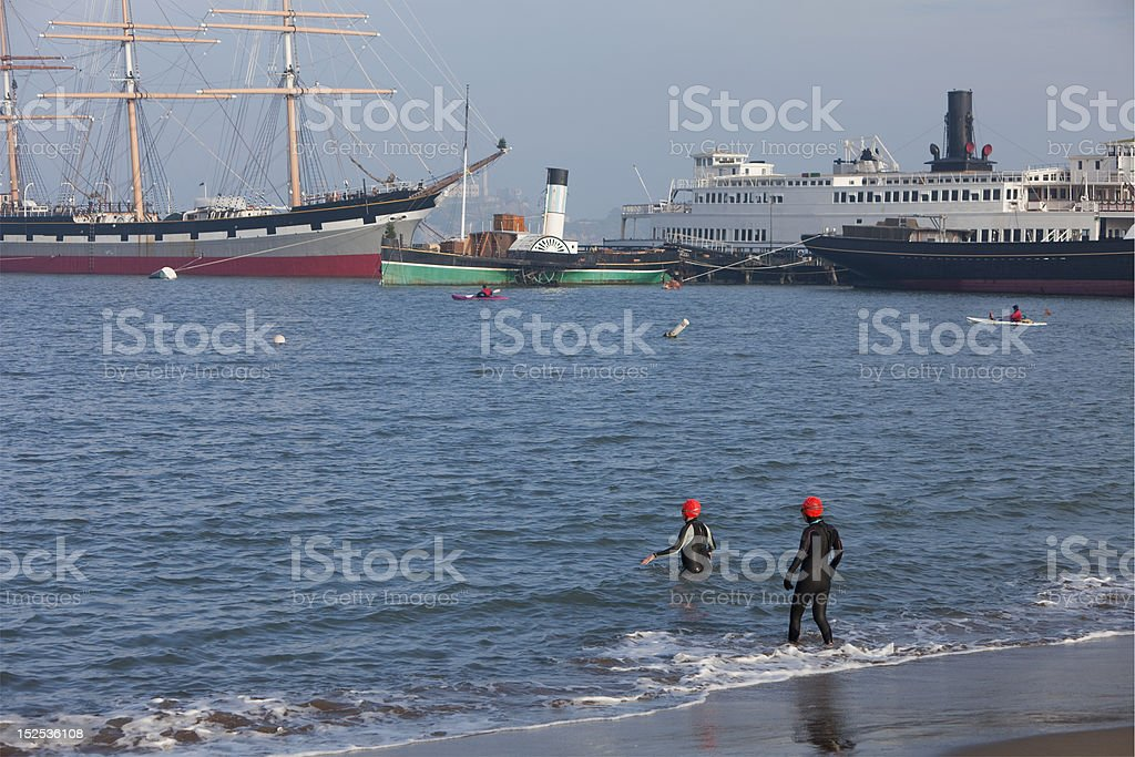 winter swimming and kayaking in San Fransisco Bay royalty-free stock photo